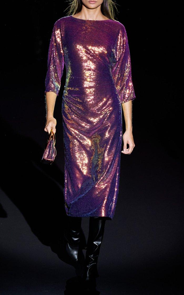 Iridescent Sequin-Embellished Jersey T-Shirt Dress