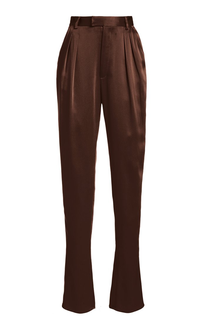 Double-Faced Satin High-Waisted Pleated Trousers