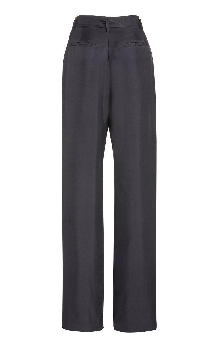 Silk Twill High-Waisted Pants