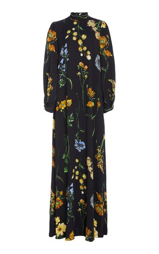 Floral-Print Tie-Neck Maxi Crepe Maxi Dress