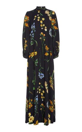 Floral-Print Tie-Neck Maxi Crepe Maxi Dress