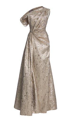 Asymmetric Metallic Jacquard Gown