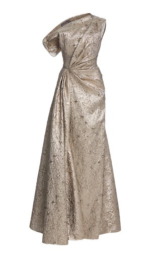 Asymmetric Metallic Jacquard Gown
