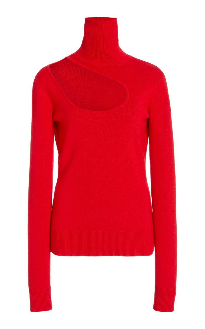 Kidney Bean Wool Cutout Turtleneck Sweater