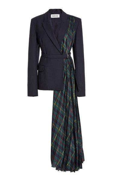 Harris Tartan-Paneled Wool-Blend Jacket