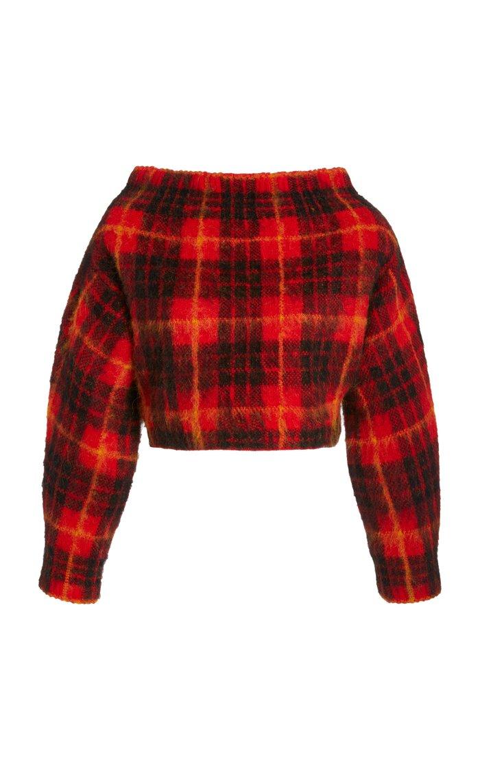Tartan Plaid Off-The-Shoulder Sweater