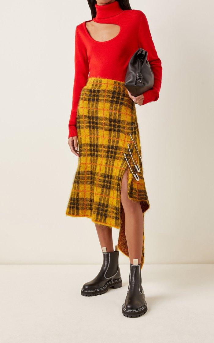 Tartan Mohair-Blend Midi Skirt