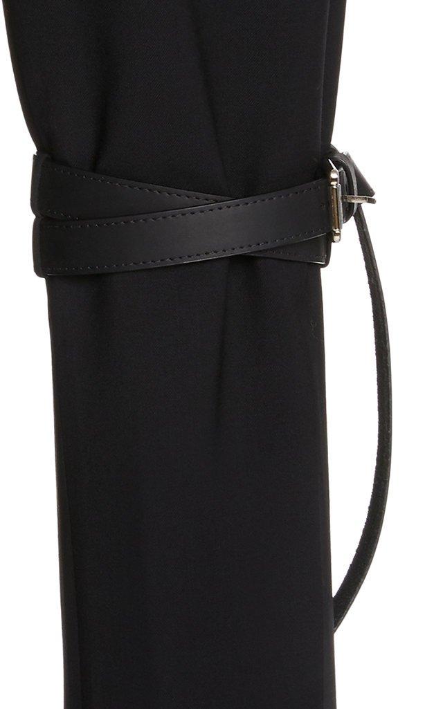 Belted Upside-Down Wool-Blend Skinny Pants