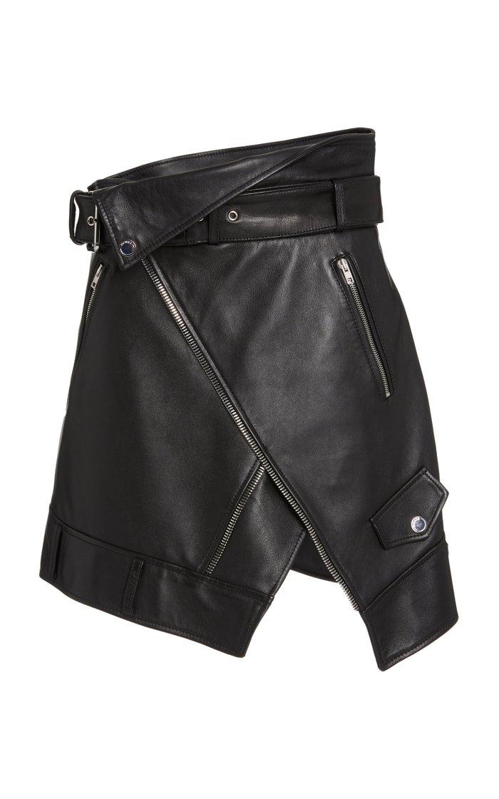 Wrap-Effect Leather Moto Skirt