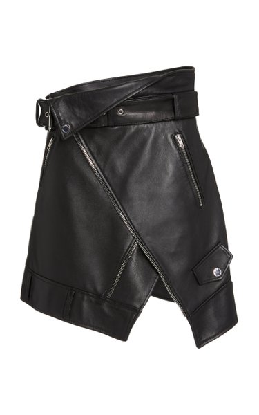Wrap-Effect Leather Moto Skirt