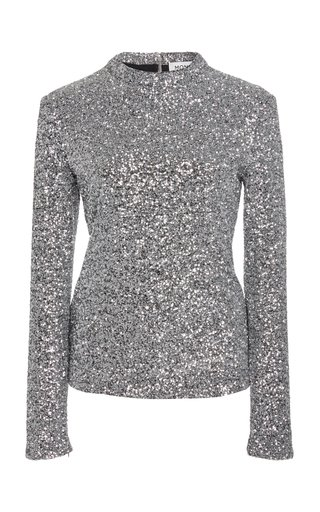Sequined Jersey Mock-Neck Top