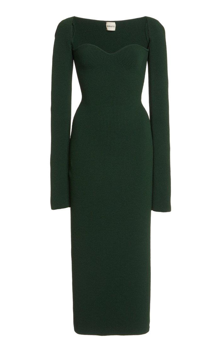 Beth Sweetheart Ribbed Jersey Dress