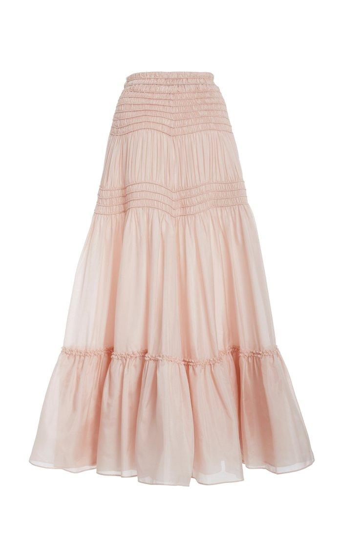 Corded Smocked Georgette Skirt