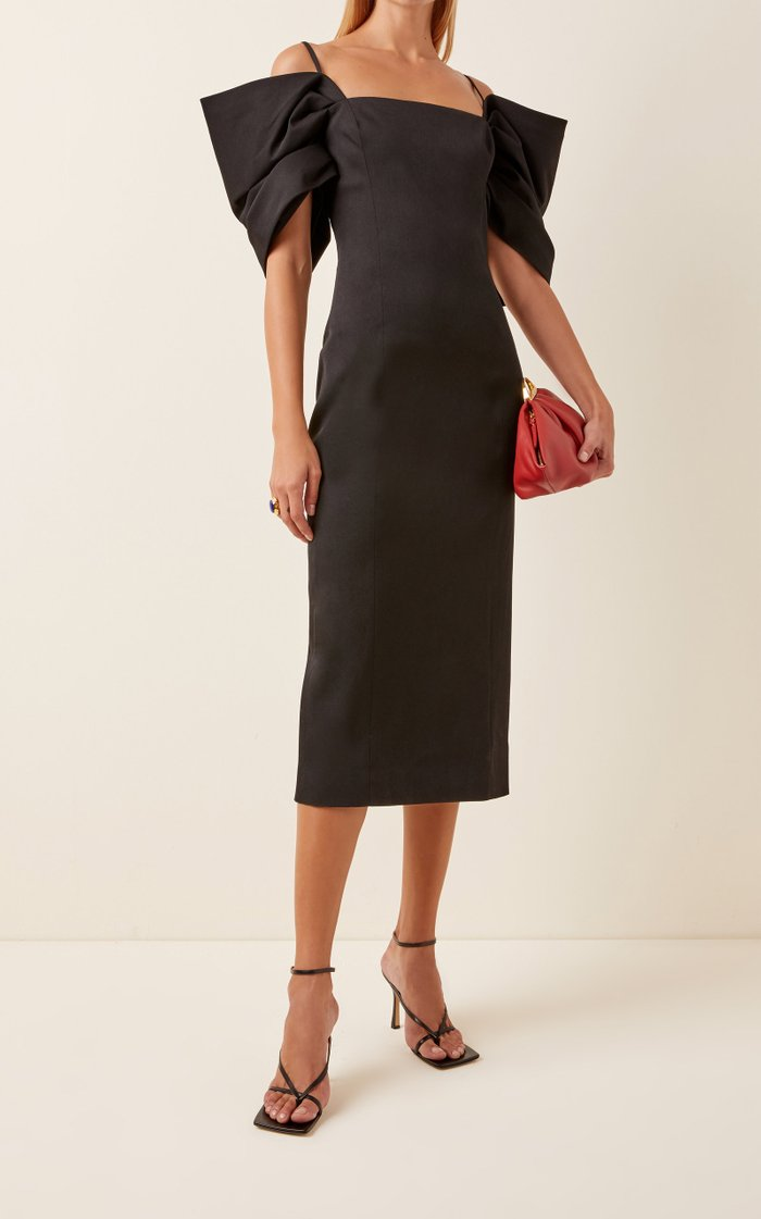 Off-The-Shoulder Stretch-Wool Sheath Dress
