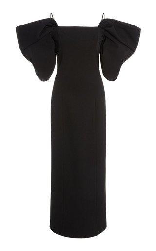 Off-The-Shoulder Stretch-Wool Sheath Dress