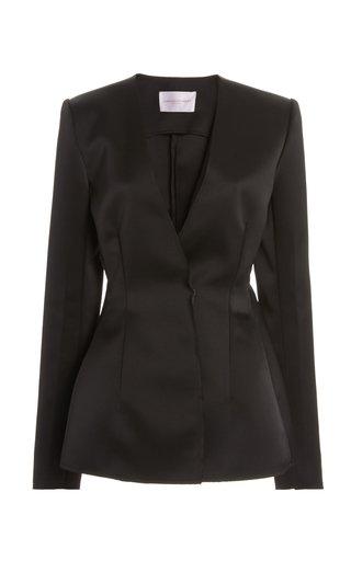 Double-Bonded Satin Suit Jacket