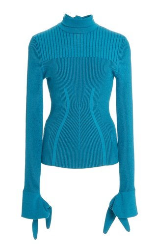 Plaited Ribbed Knit Turtleneck