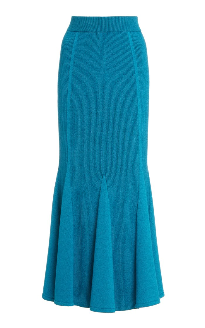 Plaited Ribbed-Knit Flared Skirt