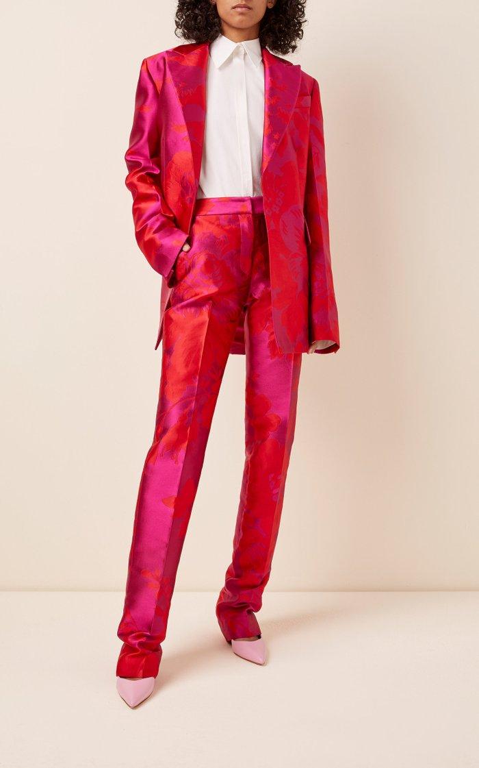 High-Rise Silk-Jacquard Straight-Leg Pants
