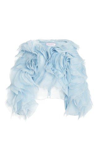 Pearl Embellished Ruffled Silk Blouse