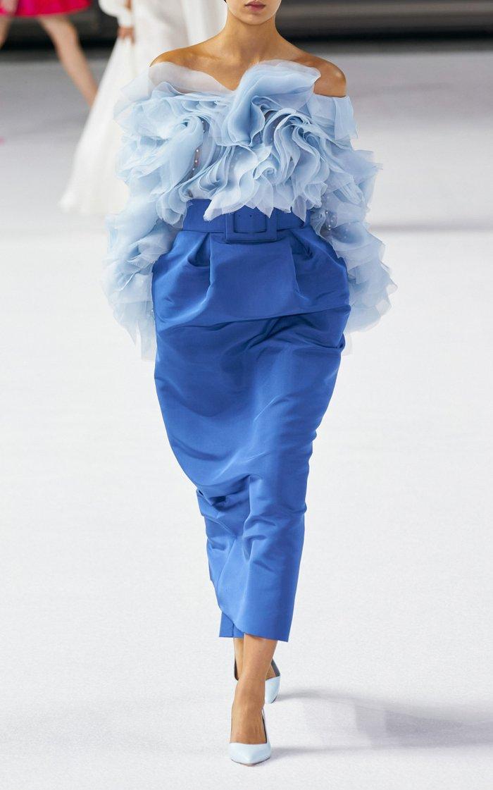 High-Rise Silk-Faille Pencil Skirt