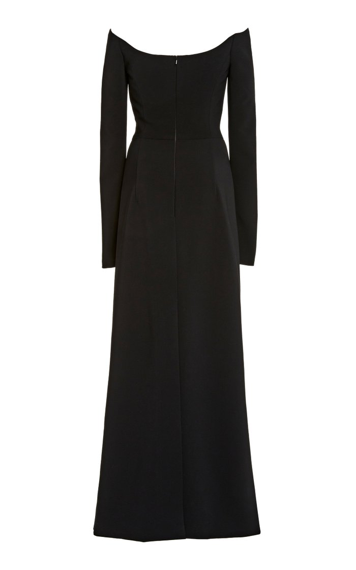 Off-The-Shoulder Fluid Crepe Gown