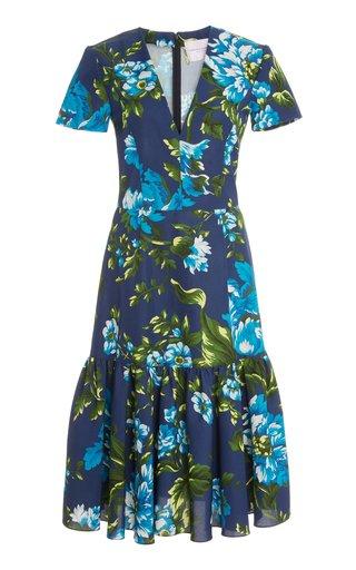 Short Sleeved Cotton-Blend Floral Dress