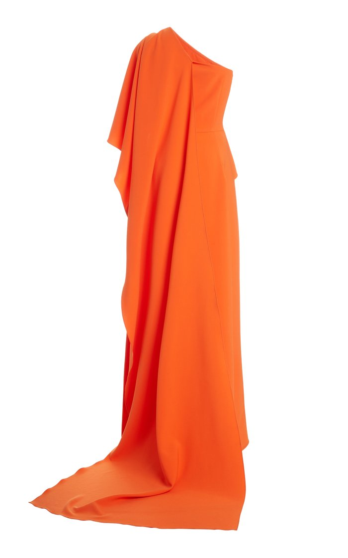 One-Shoulder Draped Cape Crepe Gown
