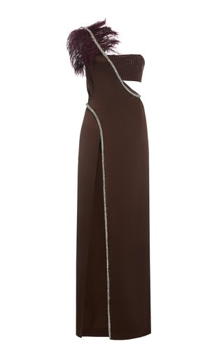 Feather And Crystal Embellished Cutout Satin One-Shoulder Gown