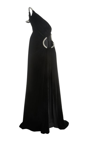 Crystal-Embellished Cutout One-Shoulder Gown