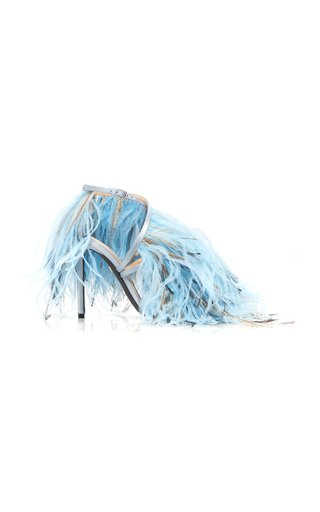 Specialorder-Ostrich Feather-Embellished Leather Sandals-MM