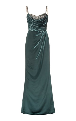 Crystal-Embellished Velvet Gown