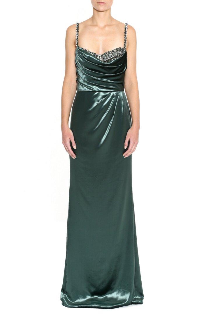 Crystal-Embellished Velvet Gown