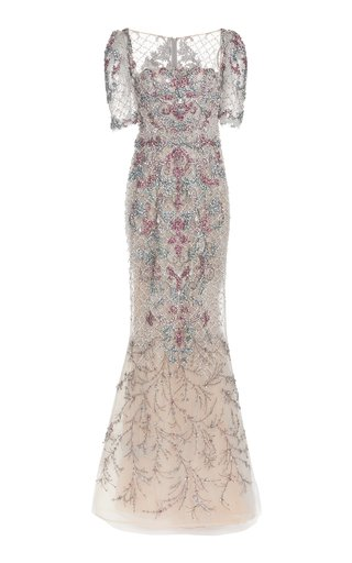 Beaded Embroidered Tulle Gown