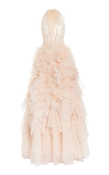 Ruffled Bow-Embellished Tulle Halterneck Gown