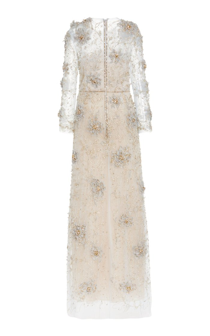Crystal-Embroidered Tulle Gown