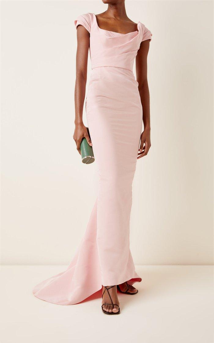 Draped Silk-Faille Gown
