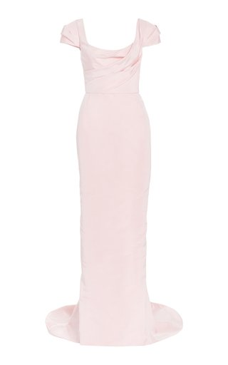 Draped Silk-Faille Gown