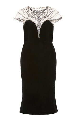 Necklace-Embroidered Velvet Dress