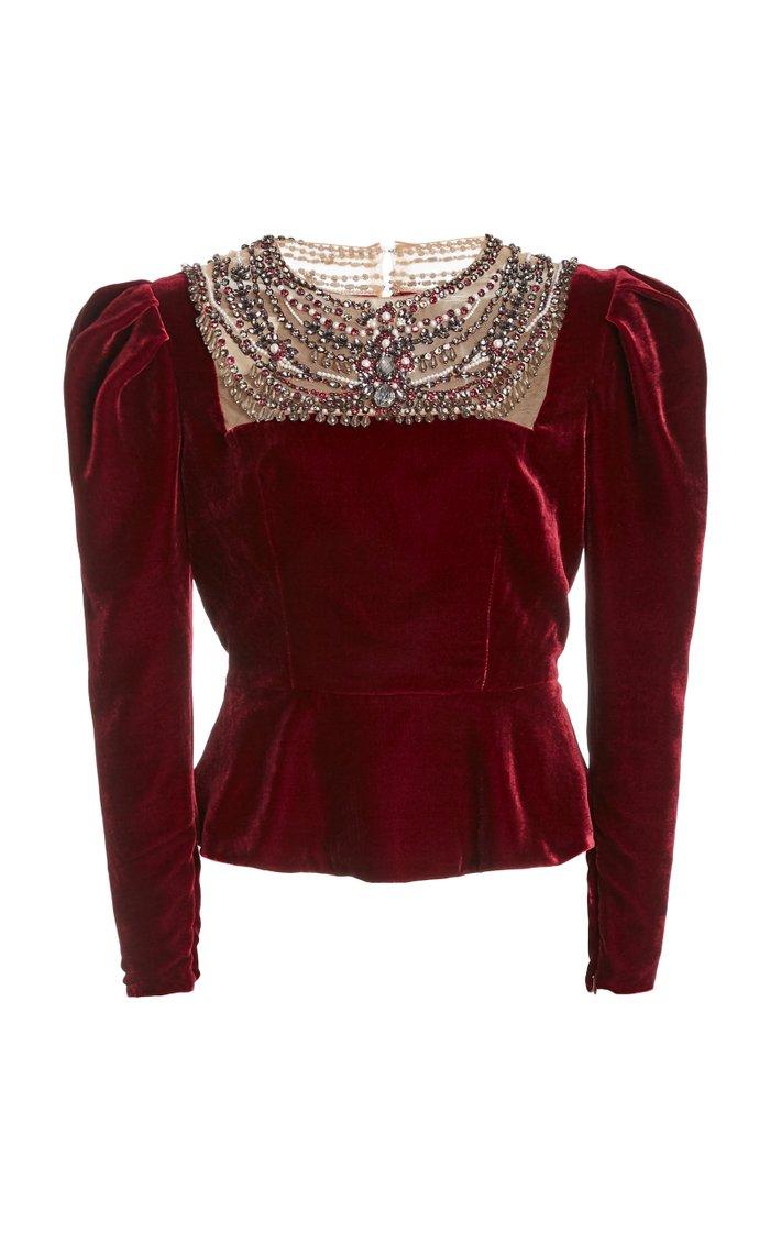 Embellished Puffed-Sleeve Velvet Top