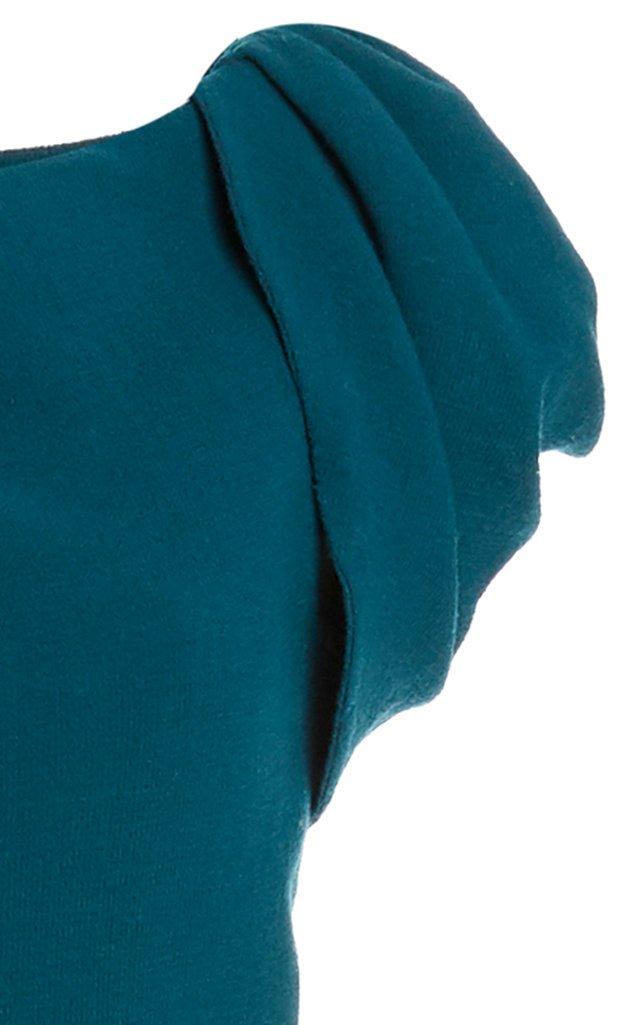 Wrap-Effect Wool-Blend Midi Dress