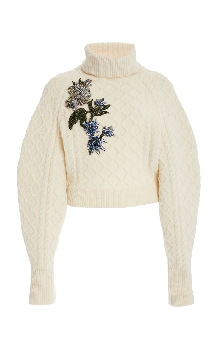 Embroidered Wool-Cashmere Sweater