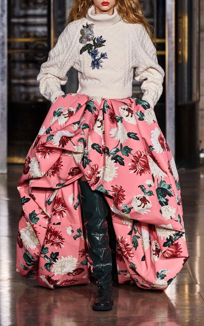 Floral-Print Asymmetric-Hem Crepe Gown