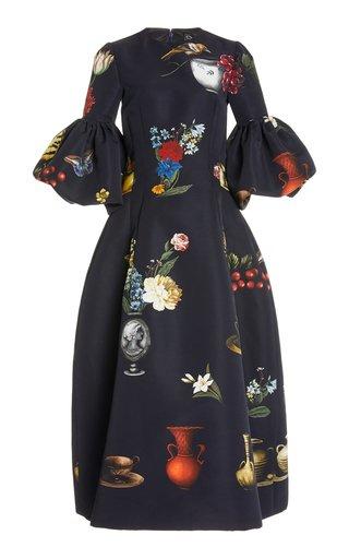 Printed Ruffle Sleeve Midi Dress
