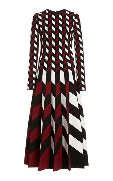 Printed Long Sleeved Knit Dress