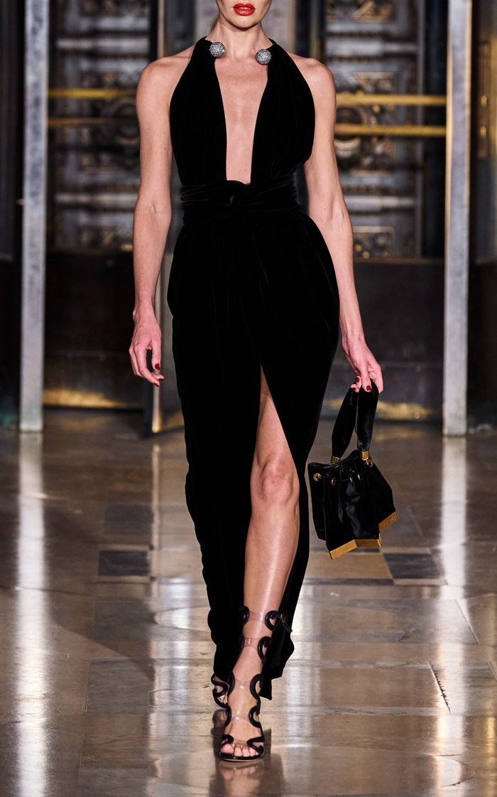 Embellished Halterneck Velvet Maxi Dress