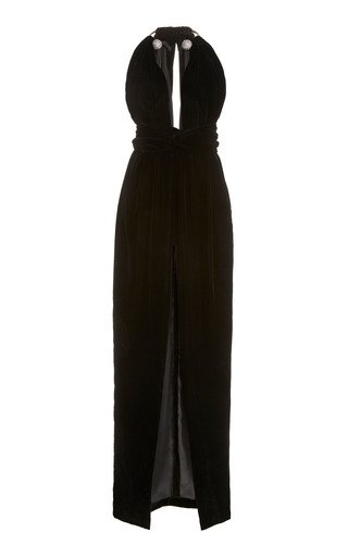 Embellished Halterneck Velvet Maxi Dress