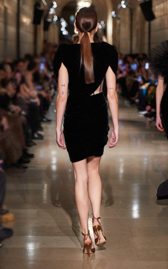 Exposed Corset Velvet Mini Dress