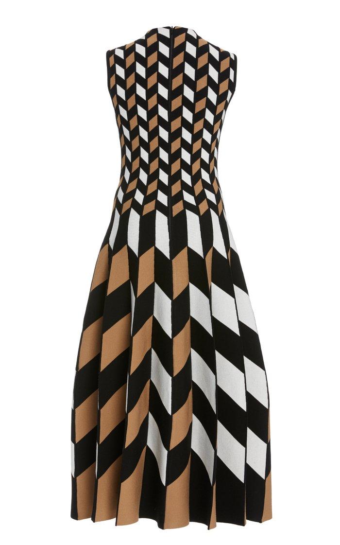 Geometric-Print Knitted Midi Dress