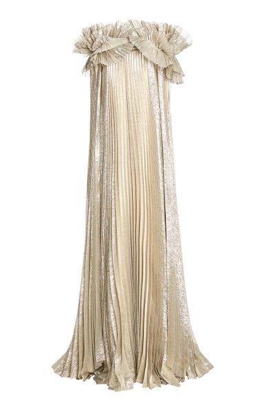 Metallic Pleated Silk-Blend Caftan